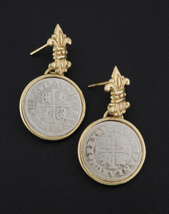 spanish half real coin earrings