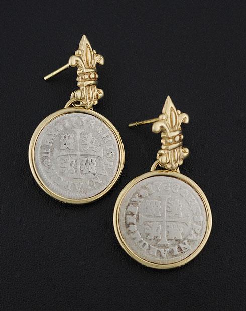 spanish half real coin earrings