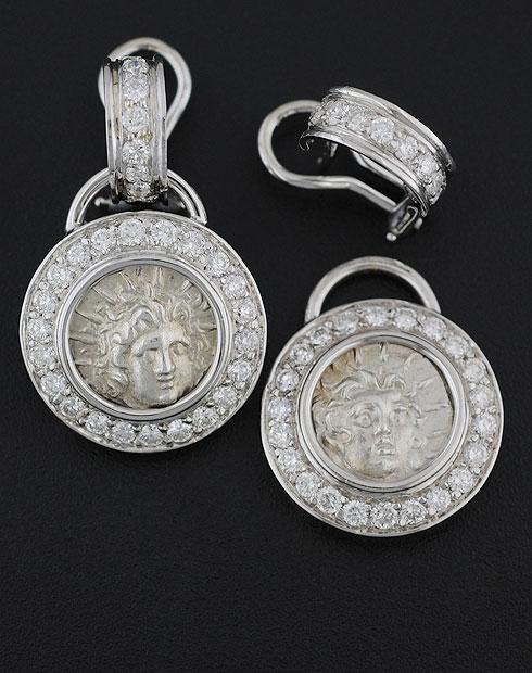 ancient greek coin earrings