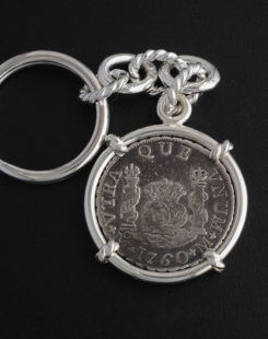 spanish two reales coin key chain