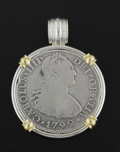 spanish two real coin pendant