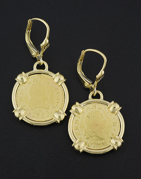 spanish gold coin earrings