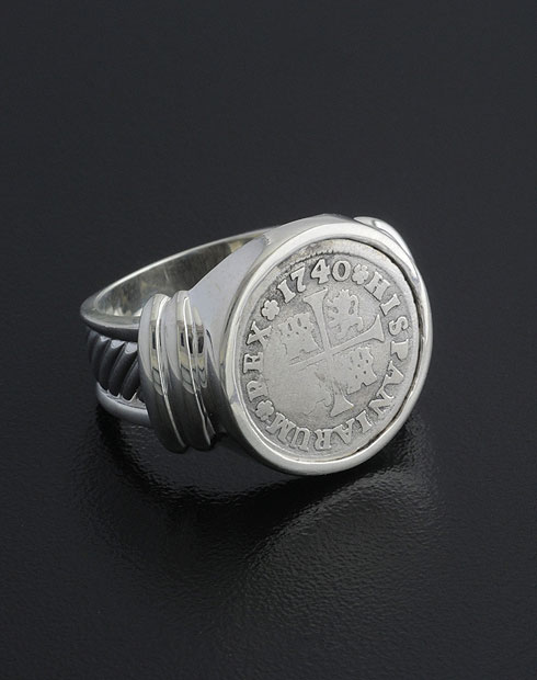 spanish half real coin ring
