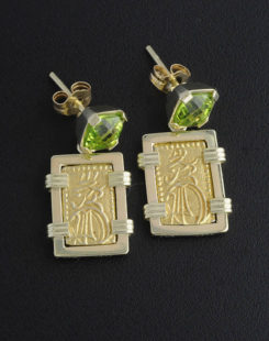 japanese nisshu gin coin earrings