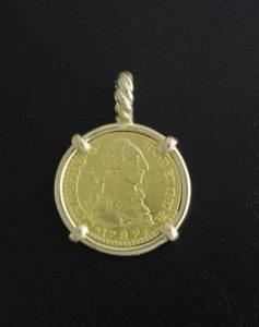 spanish one escudo coin pendant