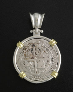 spanish one real cob coin pendant