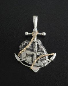 one real cob coin anchor pendant