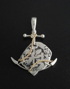 spanish one real cob coin anchor pendant