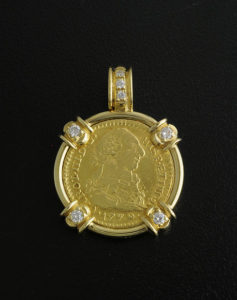 spanish one escudo bust coin pendant