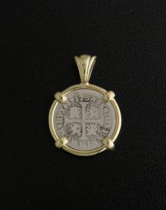 spanish half reale cross coin pendant