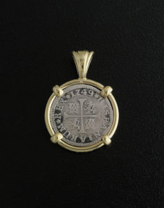 half reale cross type coin pendant