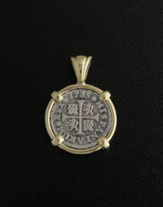 spanish half reale cross type coin pendant
