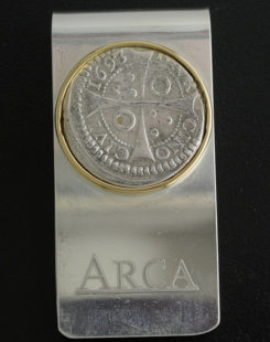 spanish one reale coin money clip