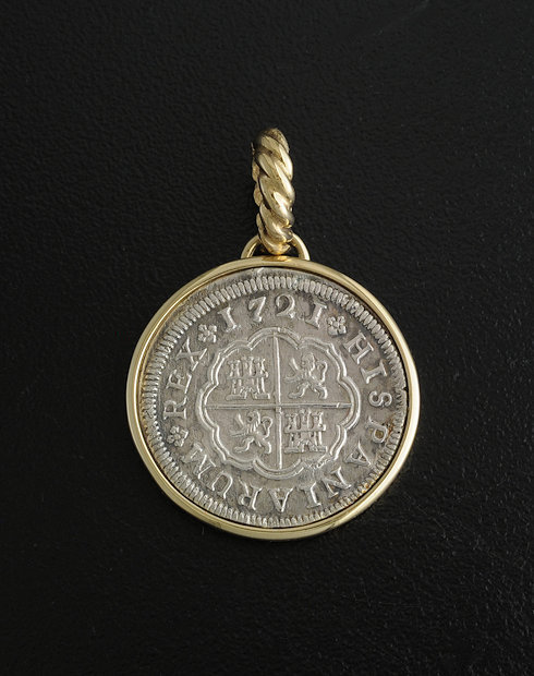 spanish one reale cross coin pendant