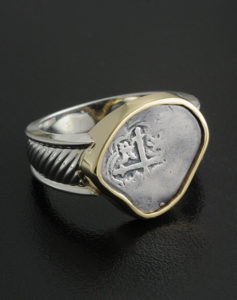 spanish half reale cob coin ring