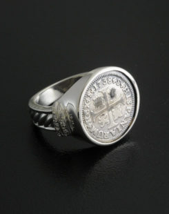 spanish half reale cross coin ring