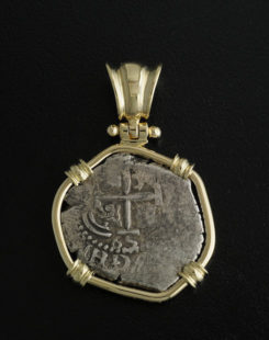 spanish one reale cob coin pendant