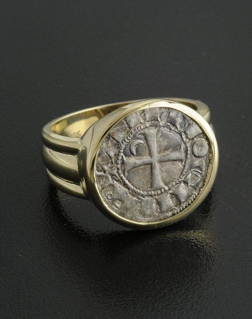 ancient crusader denier coin ring