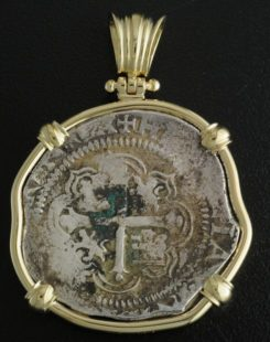 spanish four reales cob coin pendant