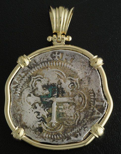 spanish four reales cob coin pendant