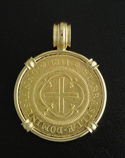 brazialian 4000 reis coin pendant