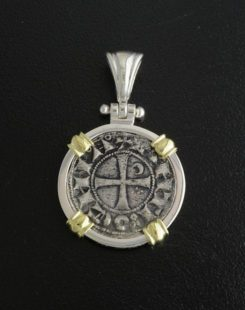 ancient crusader deniur coin pendant