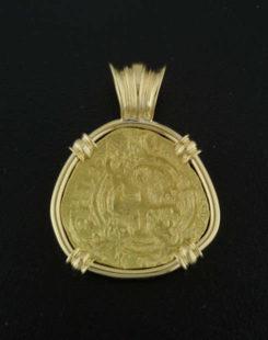 spanish two escudo cob coin pendant