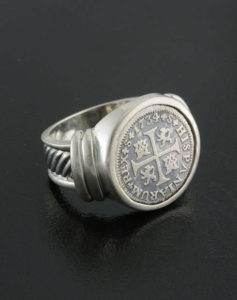 spanish half reale coin ring