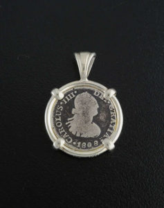 spanish half reale bust coin pendant
