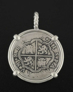 spanish cross type coin pendant
