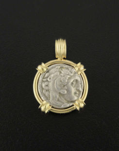 anciet greek drachm coin pendant