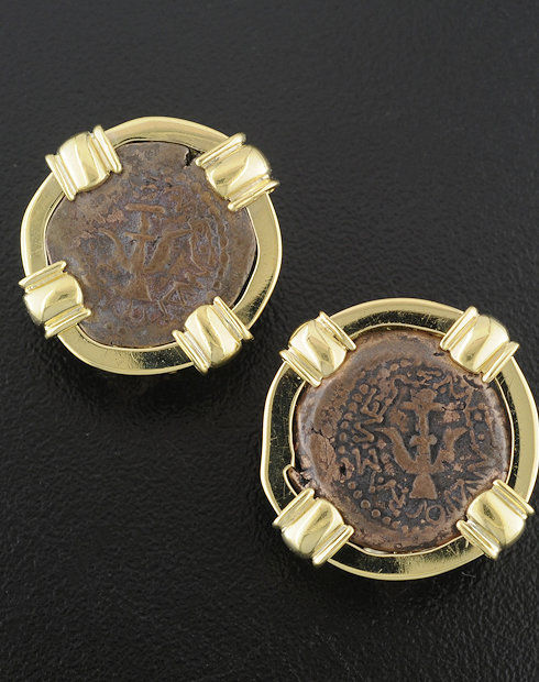 ancient widow's mite coin earrings