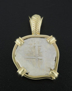spanish two reales cob coin pendant