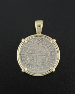 spanish one real cross type coin pendant