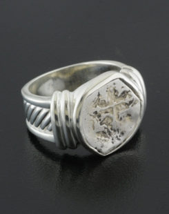 spanish half real cob coin ring
