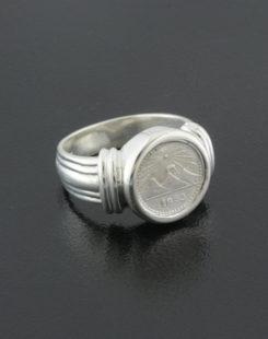 guatamalan quarter real coin ring