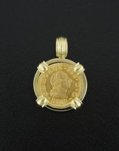 spanish half escudo bust coin pendant