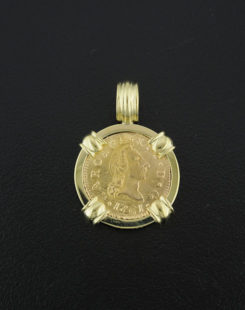 spanish half escudo bust pendant
