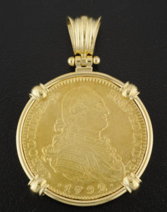 spanish four escudo bust coin pendant