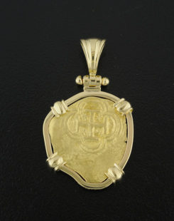 spanish one escudo cob coin pendant