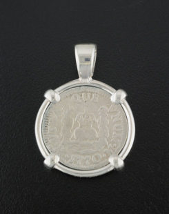 spanish one real pillar coin pendant