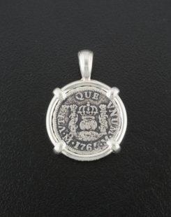 spanish half real pillar coin pendant