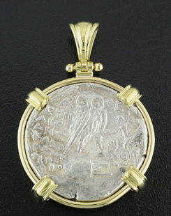 ancient greek tetradrachm coin pendant