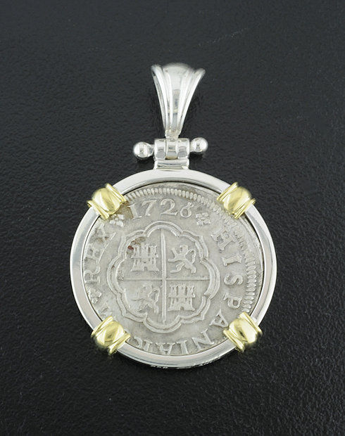spanish one real cross coin pendant