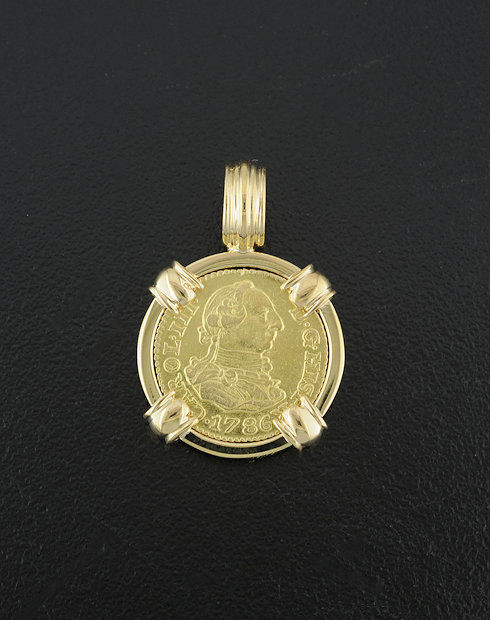 spanish half escudo coin pendant
