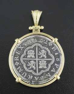 spanish two reales coin pendant