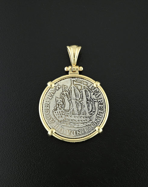 old world dutch six tuvier coin pendant
