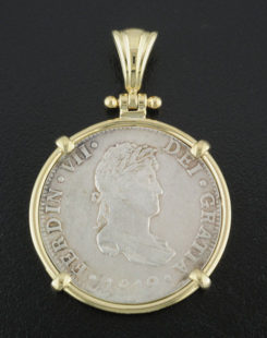 spanish two reales bust coin pendant