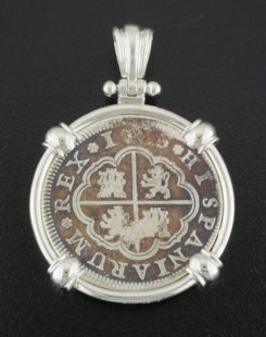spanish two reales cross coin pendant