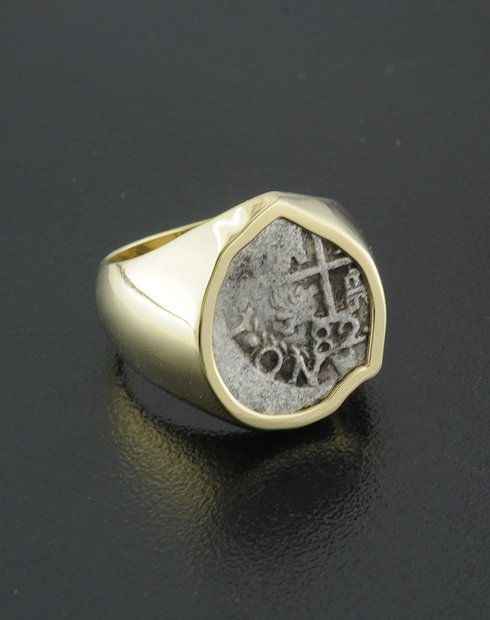 spanihs half real cob coin ring